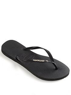 4de470e5cd5 Havaianas Slim Metal Logo   Crystal Flip Flop Sandal - Black