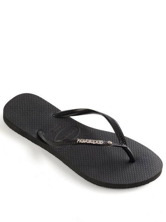 261dec5cdb118 Havaianas Slim Metal Logo   Crystal Flip Flop Sandal - Black