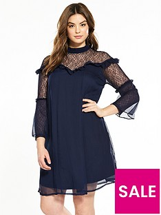lost-ink-plus-swing-dress-with-pretty-lace-navy