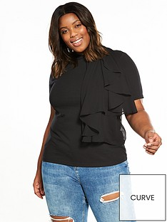 lost-ink-plus-t-shirt-with-woven-frill-black