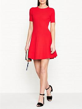 tommy-hilfiger-rayana-crew-neck-mesh-sleeve-dress-red
