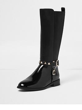 river-island-river-island-knee-high-stud-buckle-riding-boot