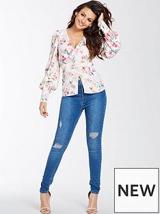 michelle-keegan-printed-tie-back-blouse