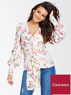 michelle-keegan-printed-tie-blouse