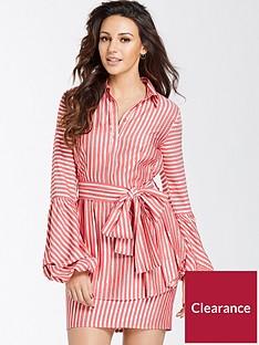 michelle-keegan-tie-waist-shirt-dress