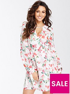 michelle-keegan-printed-tiered-skirt-dress