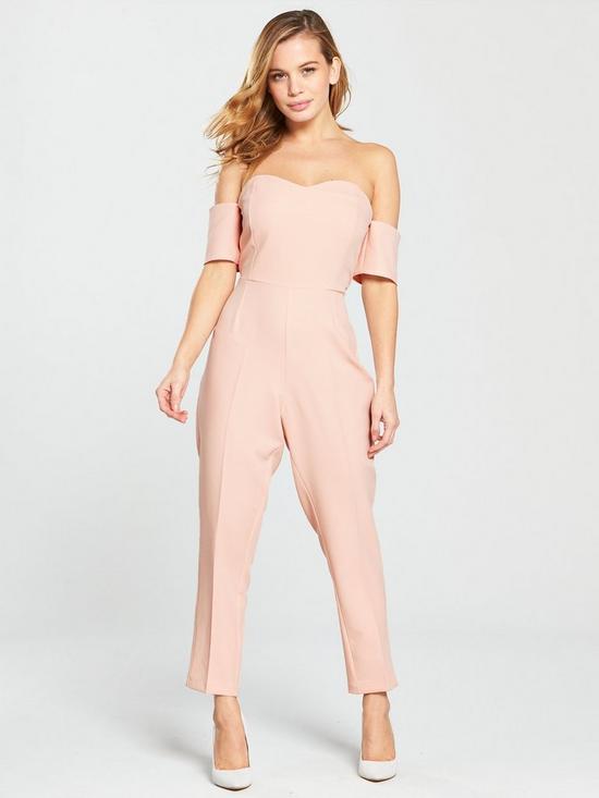 d13c562e6 V by Very Petite PETITE Bardot Sweetheart Neckline Jumpsuit - Blush ...