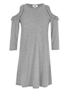 river-island-girls-grey-ribbed-cold-shoulder-swing-dress