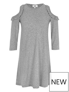 river-island-girls-grey-ribbed-cold-shoulder-swing-dress