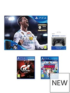 playstation-4-fifa-18-500gb-jet-black-ps4-bundle-with-additional-dualshock-with-gran-turismo-sport-and-knowledge-of-power