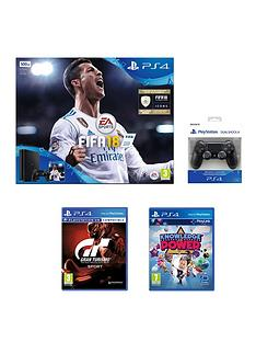 playstation-4-fifa-18-500gb-jet-black-ps4-bundle-with-additional-dualshock-with-gran-turismo-sport-knowledge-of-power-extra-black-dualshock-amp-365-psn-subscription