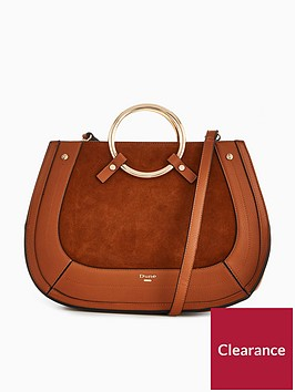 dune-london-dorsey-large-suede-metal-handle-saddle-bag-tan