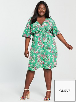 v-by-very-curve-wrap-printed-dress-green