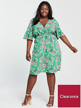 v-by-very-curve-wrap-printed-dress-green