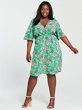 v by very curve wrap printed dress - green