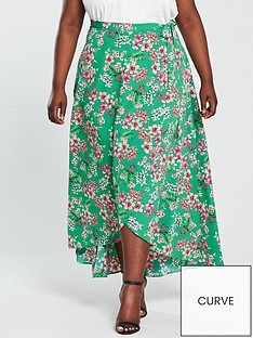 v-by-very-curve-print-maxi-skirt-green