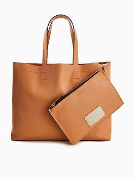 Calvin Klein Leather Shopper Tote Bag &Ndash; Tan