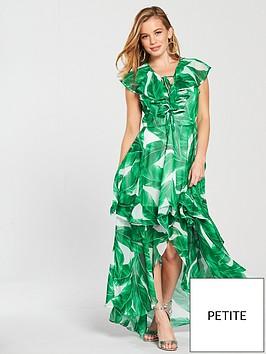 v-by-very-petite-printed-frill-maxi-dress-greenwhite