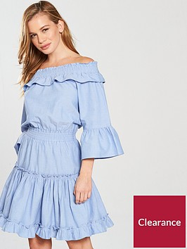 v-by-very-petite-bardotnbspcotton-ra-ra-dress-bluenbsp