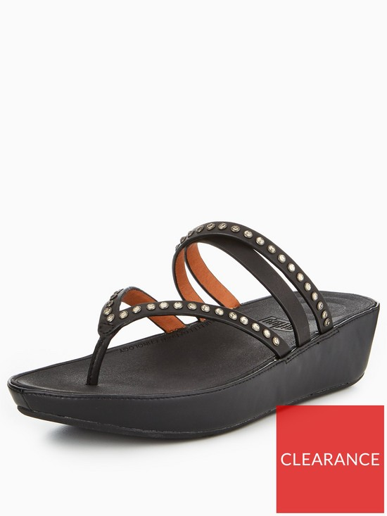 ddd8cbd8957 FitFlop Linny Criss Cross Toe Thong Sandal - Black