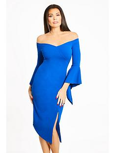 jessica-wright-imogen-bardot-fluted-sleeve-midi-dress