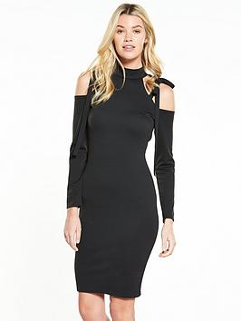 Lost Ink Bow Cut Out Shoulder Bodycon Dress - Black