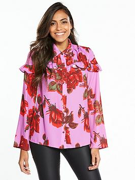 Lost Ink Floral Printed Frill Shirt