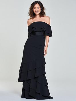 Myleene Klass Frill Bardot Maxi Dress - Black