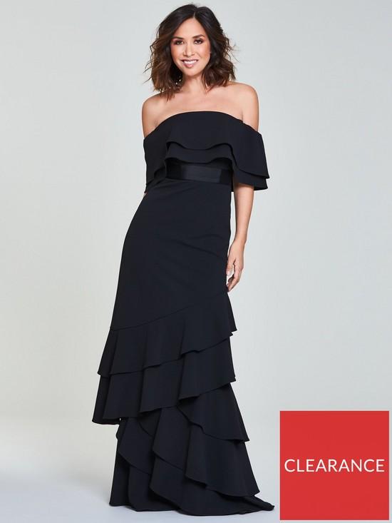 74b5e8ea8930 Myleene Klass Frill Bardot Maxi Dress - Black | very.co.uk
