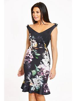 Jessica Wright Floral Bardot Bow Detail Fluted Hem Midi Dress