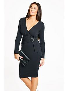 jessica-wright-buckle-detail-wrap-dress