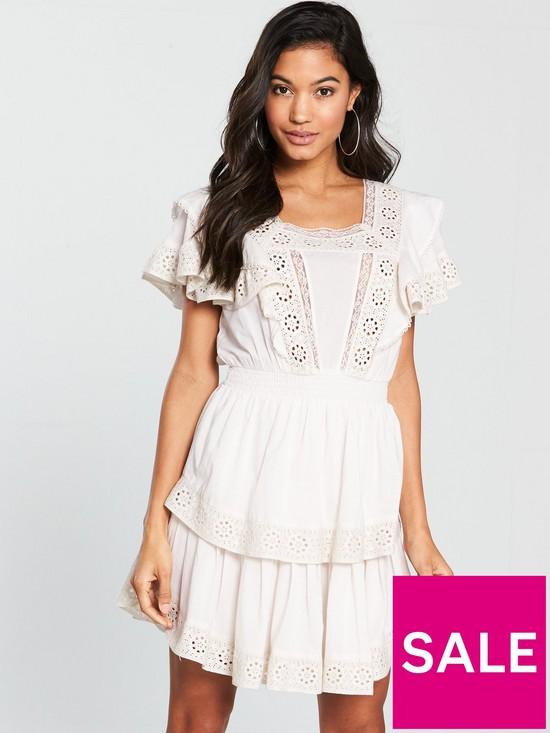 eabdb733b406 V by Very Cotton Crochet Trim Tiered Skater Dress - White