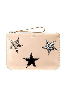 Hugo Boss Uptown Star Leather Pouch Clutch Bag - Nude