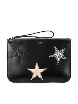 hugo-hugo-uptown-black-star-leather-pouch-clutch-bag
