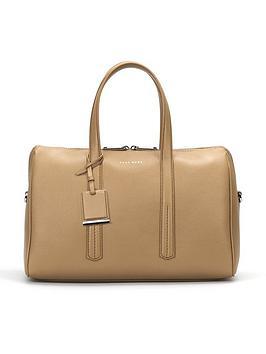Hugo Boss Taylor Duffle Leather Bag - Stone