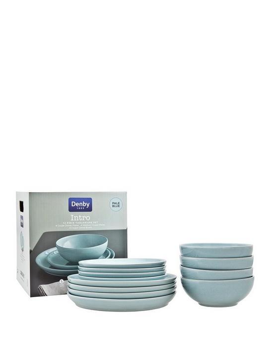 denby intro 12 piece dinner set pale blue