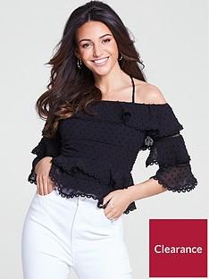 michelle-keegan-dobby-spot-layered-trim-blouse-blacknbsp