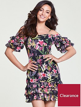 michelle-keegan-ruffle-cold-shoulder-dress-print
