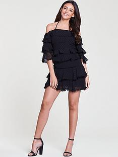 michelle-keegan-dobby-layered-co-ord-skirt-black
