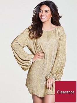 michelle-keegan-sequin-balloon-sleeve-mini-dress-gold