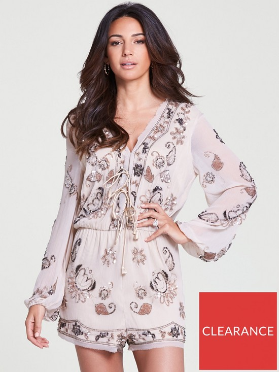d2eb1ae337 Michelle Keegan Sequin Embellished Playsuit - Blush