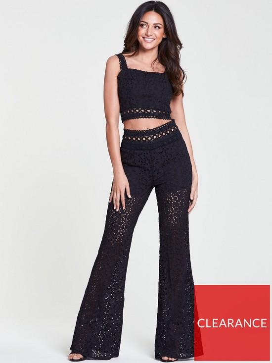 22358562c7 Michelle Keegan Broderie Ladder Trim Wide Leg Trouser - Black