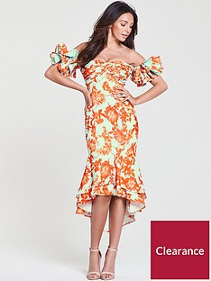 michelle-keegan-printed-occasion-ruffle-sleeve-dress-printnbsp