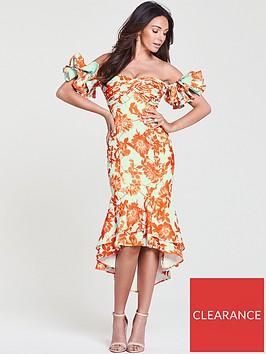 michelle-keegan-printed-occasion-ruffle-sleeve-dress-printnbsp