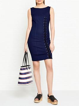 guess-tia-denim-dress-with-lace-tie-up-detail-navy