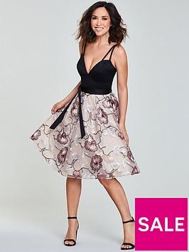 myleene-klass-embroidered-skirt-plunge-neckline-prom-dress