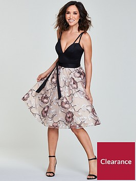 myleene-klass-embroidered-skirt-plunge-neckline-prom-dress