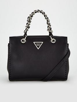 guess-sawyer-poppy-chain-detail-handbag-black