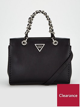 guess-sawyer-poppy-chain-detail-handbag-black