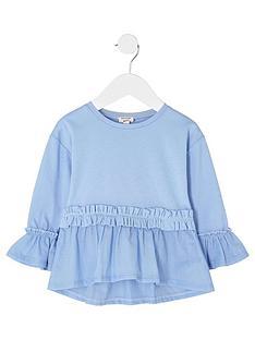 river-island-mini-girls-blue-ruffle-waist-poplin-hem-top